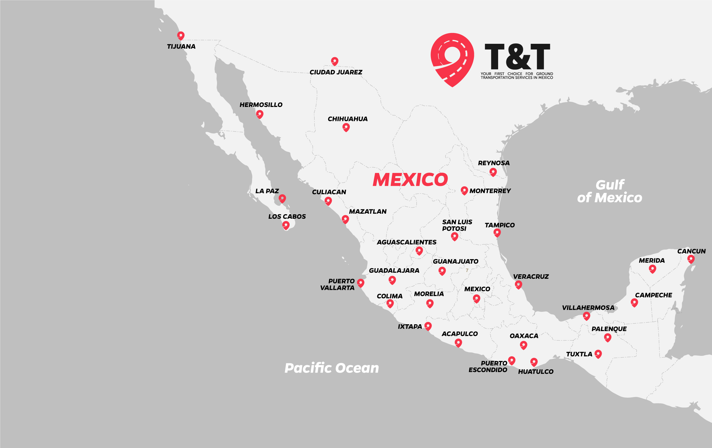 Map Transport hubs in Mexico T&T