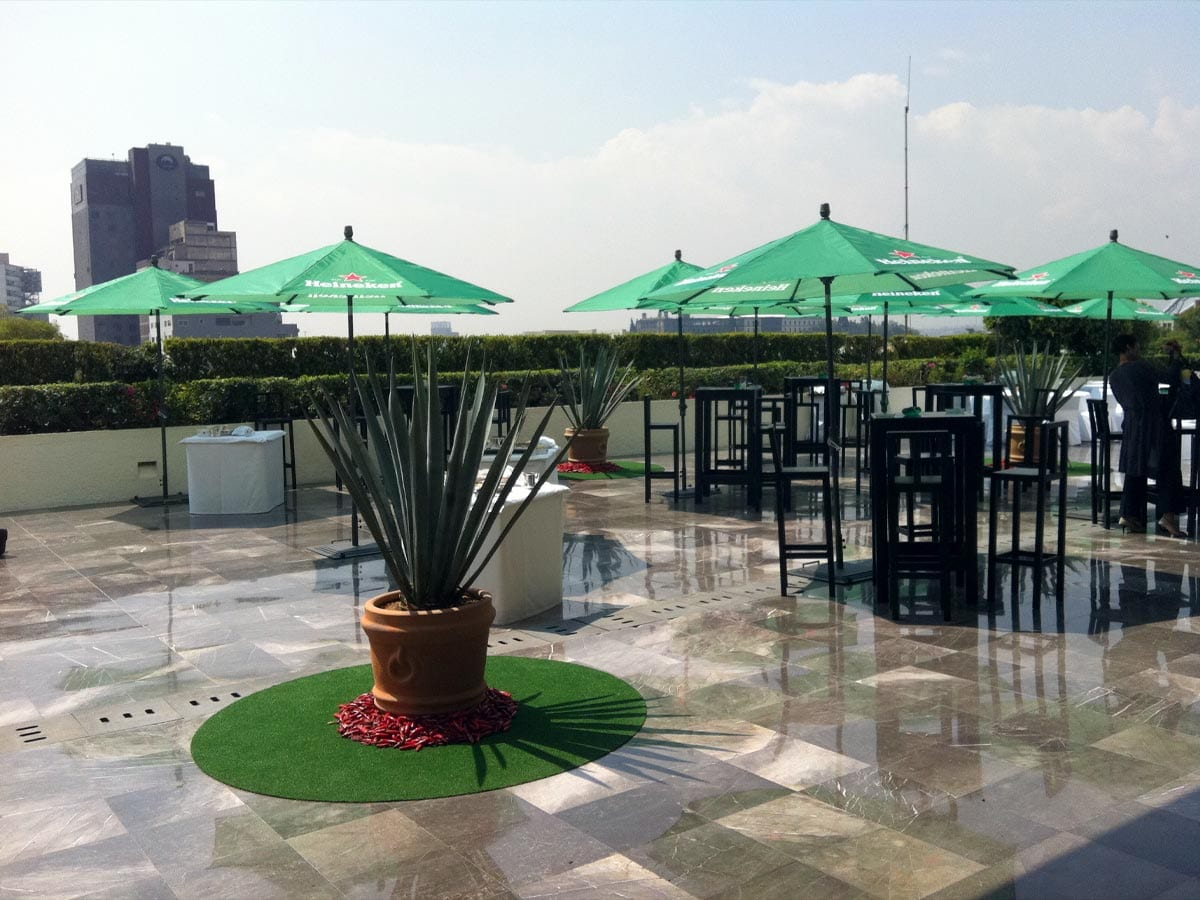 SATmexico dmc events production mexico rooftop hotel camino real set up heineken international forum